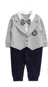 Terno bebe plomo con pantalón azul