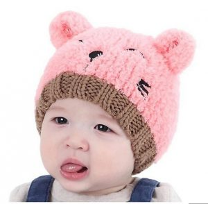 Gorro bebe niña rosado con orejitas