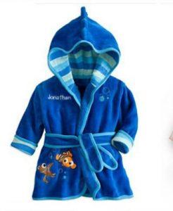 Hermosa bata de baño bebe varón color azul