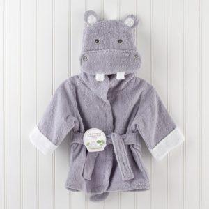 Linda bata de baño bebe varón diseño hipopótamo
