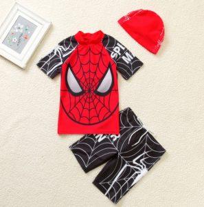 Modernoropa de baño niño Hombre Araña negro con rojo