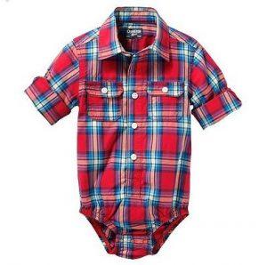 Novedosa camisa body bebe a cuadros color rojo
