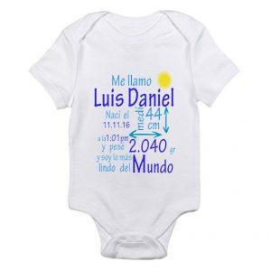 Novedoso body bebe con nombre y fecha de nacimiento