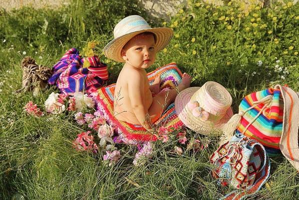 sombrero bebe niña de paja