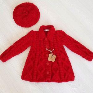 Abrigo de lana para niñas color rojo