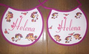 """Tierno babero con nombre de bebe """"Helena"""""""