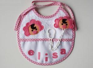 Babero personalizado con nombre de bebe Elisa