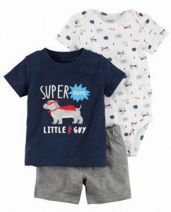 Conjunto de ropa para bebe, tres piezas, diseño super Perro