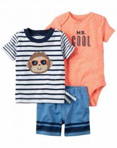 Conjunto de ropa para bebe (tres piezas), diseño monito