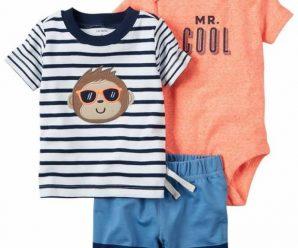 Hermosos conjuntos de verano para bebes varoncitos (tres piezas)