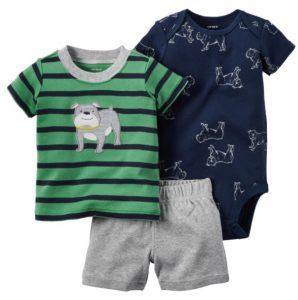 Conjunto de ropa para bebe (tres piezas), diseño perrito