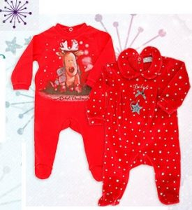 Dos hermosos enterizos bebe temporada navidad color rojo