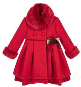 Elegante abrigo niña color rojo