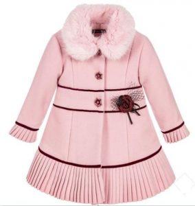 Elegante abrigo niña color rosado