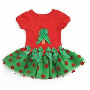 Lindo vestido con lazos de Navidad