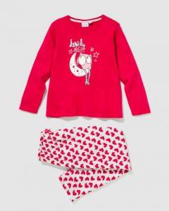 Pijama niña, diseño de corazones