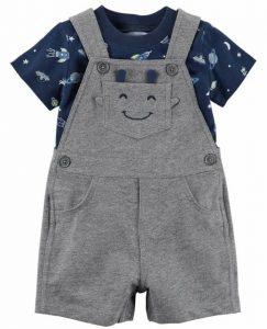 Hermoso short overol para bebe diseño carita feliz