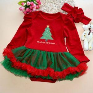 Vestido niña con diseño de Arbolito de Navidad