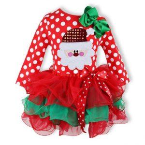 Vestido niña con carita de Papa Noel