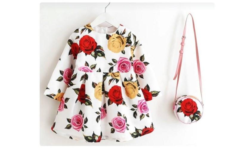 vestido niña con cartera, diseño de rosas