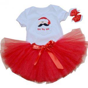 Vestido niña diseño Papa Noel, color rojo y blanco