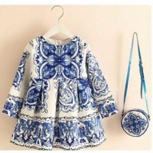 Vestido niña floreado color azul