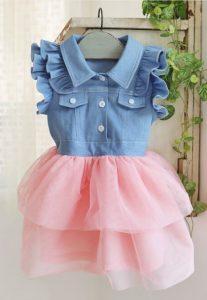 Vestido jeans con blondas para niña color rosado