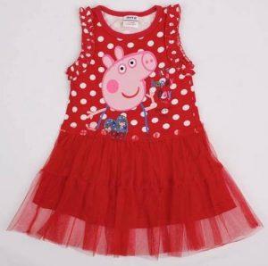 Lindo vestido Peppa color rojo con gasa