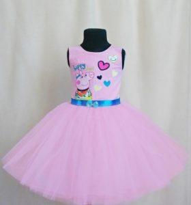 Hermoso vestido Peppa color rosado con gasa