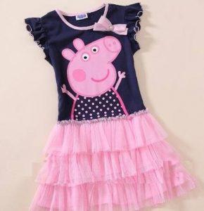 Vestido Peppa con bobos color negro con rosado