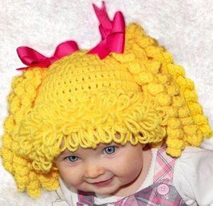 Gorro peluca de lana color amarillo