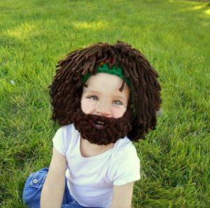 Tierno gorro peluca de lana con barba
