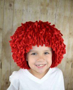 Gorro peluca para niño color naranja