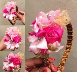 Hermosa vincha con aplicaciones de flores