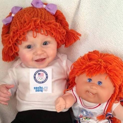 hermoso gorro peluca para bebe color anaranjado