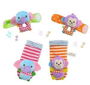 Tierno juego de calcetín y sonaja para estimulación temprana