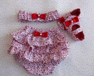 Conjunto de calzóncon bobos color rojo