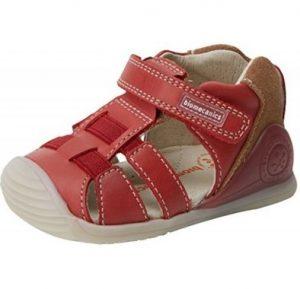 Sandalia para niño de cuero color rojo