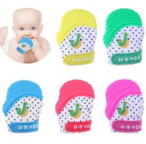 coloridos guantes mordedores para bebe