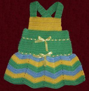 colorido vestido tejido para niña