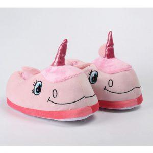Pantufla unicornio para niñas color rosado