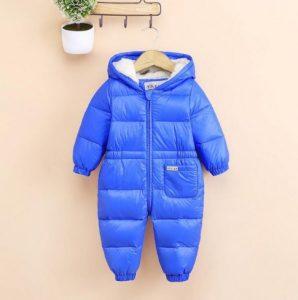 mameluco de invierno para bebe color azul