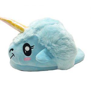 bello pantufla con diseño de unicornio para niña
