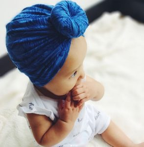 Turbante de bebe color azul