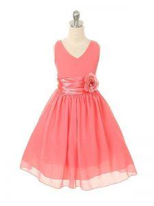 elegante vestido color coral para fiesta de promocion