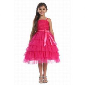vestido de fiesta de promocion primaria color fucsia