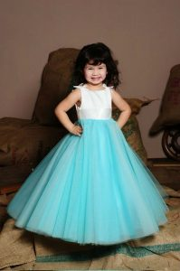Vestido de fiesta de promoción inicial 5 años color turquesa