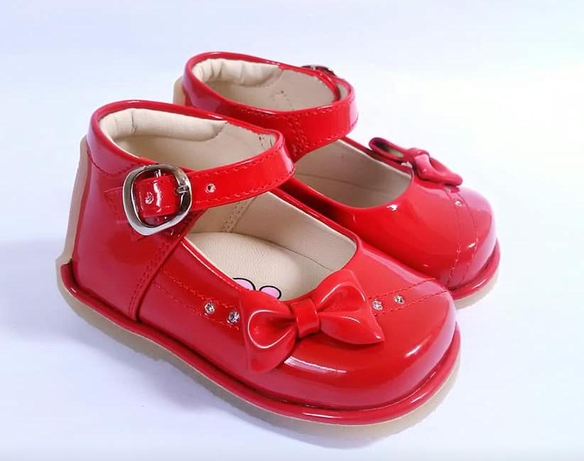 zapato pibe para bebita color rojo