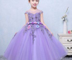 Novedosos vestidos de fiesta de promoción para niña color lila