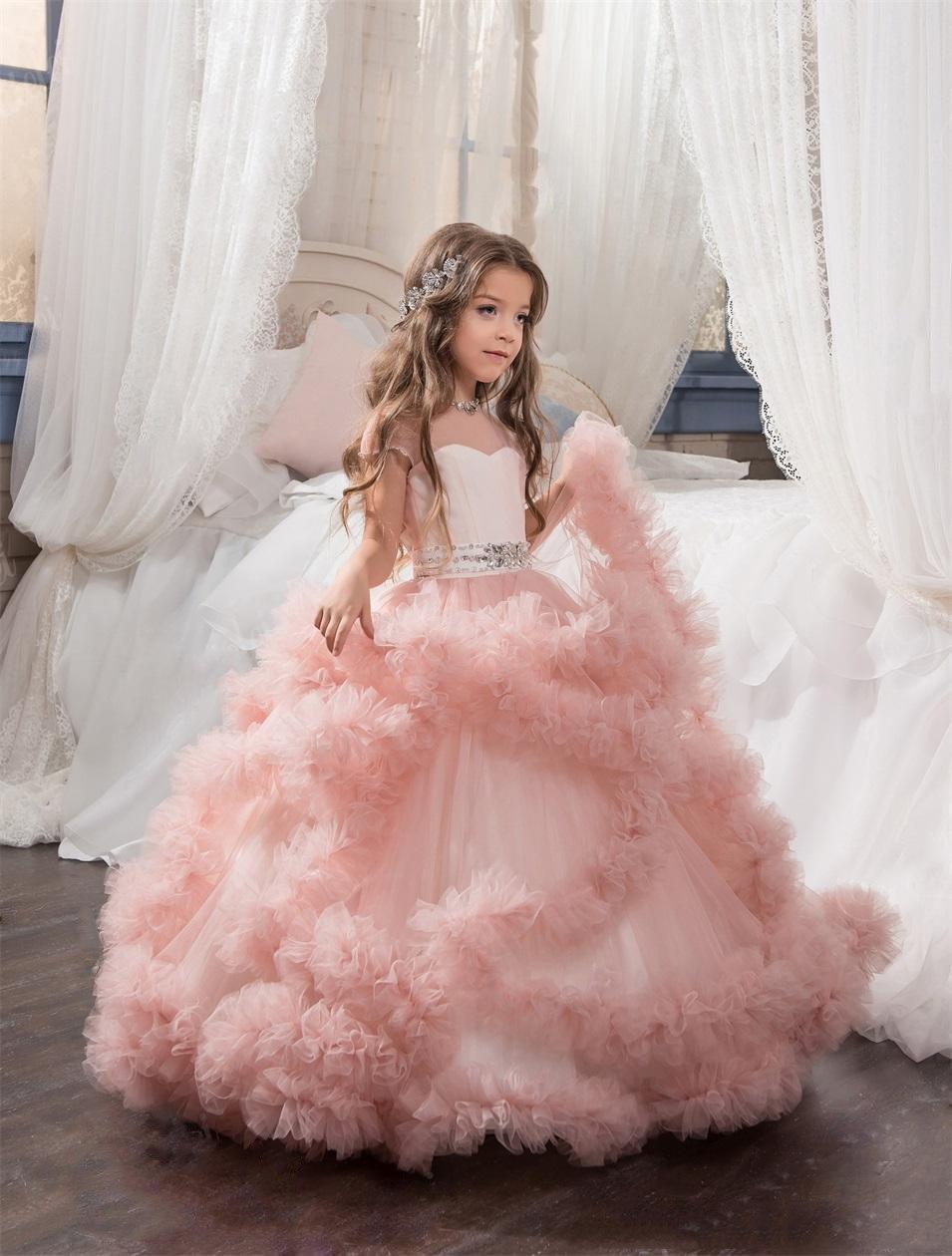 vestido para niña color rosa nude